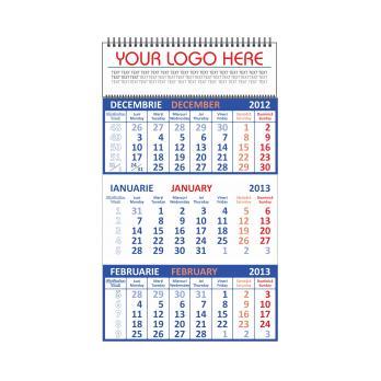 Calendar personalizat de perete triptic drept